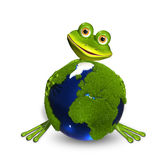 Frog and globe Stock Image