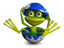 Frog in the globe Royalty Free Stock Photo