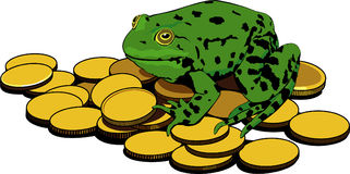 Frog and gold coins Royalty Free Stock Photos