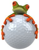Frog and golf. Cute little frog, 3D generated Stock Photos