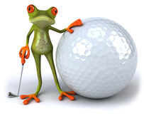 Frog and golf Royalty Free Stock Photography