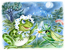 Frog and grasshopper. Admiring moon against the pond Royalty Free Stock Images