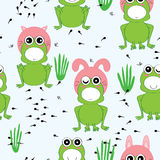 Frog Habitat Cute Seamless Pattern Stock Image