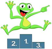 Frog happy winner. Green winner cheerful frog, jumping and shows Royalty Free Stock Photos