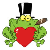Frog with a hat and cigar holding a red heart Royalty Free Stock Images