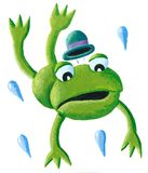 Frog with hat jumping. Acrylic illustration of Frog with hat jumping stock illustration