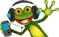 Frog In Headphones Royalty Free Stock Images