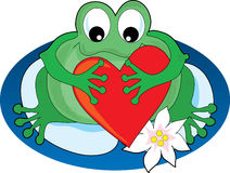 Frog with a Heart. Frog sitting on a lilypad holding a big heart Royalty Free Stock Photo