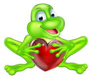 Frog heart concept. An illustration of a cute cartoon frog mascot character holding a heart shape Stock Photos