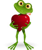Frog with heart. Illustration a merry green frog with heart Royalty Free Stock Images