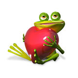 Frog with heart. Illustration merry green frog with red heart Stock Photos
