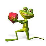 Frog with heart Stock Images