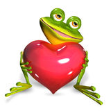 Frog with heart. Illustration merry green frog with red heart Stock Photography