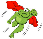 Frog hero jumps with cape Royalty Free Stock Image