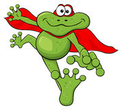 Frog hero jumps with cape Royalty Free Stock Photos