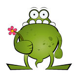 Frog holding flower stock illustration