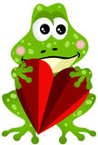 Frog Holding a Heart. Scalable vectorial image representing a frog holding a heart, isolated on white Royalty Free Stock Image