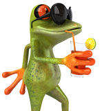 Frog on holidays. Cute little frog, 3D generated royalty free illustration