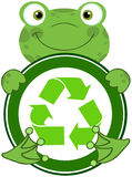 Frog Hugging Banner With Recycle Symbol Royalty Free Stock Photography
