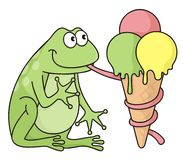 Frog with icecream Royalty Free Stock Photo