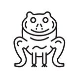Frog icon vector sign and symbol isolated on white background, F royalty free illustration