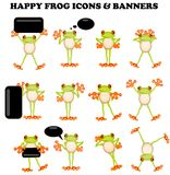 Frog  icons with a blank sign Royalty Free Stock Photography