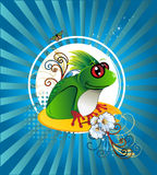 Frog  illustration. Composition over a blue background Stock Photography