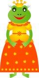 Frog Illustration, Princess Frog Illustration, Frog Cartoon. Isolated cartoon princess frog illustrations with yellow and orange dress, amphibian, yellow hearts Royalty Free Stock Image
