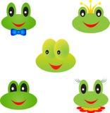 Frog Illustrations, Frog Faces. Cartoon green frog faces, boy frog, girl frog, prince frog, animals, amphibians, nature, fauna Stock Photography