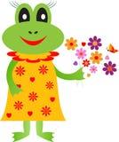 Frog Iluustration, Cartoon Frog Illustrations. Girl frog cartoon illustration with yellow dress, yellow dress, flowers, yellow flowers, purple flowers, pink Stock Image