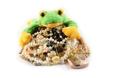 Frog and jewellery Stock Photos