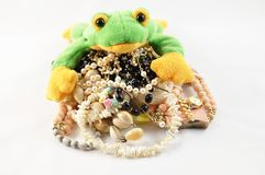 Frog and jewellery Royalty Free Stock Image