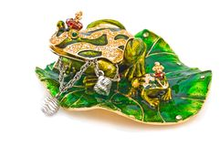 Frog- jewelry box with silver bracelet. Stock Image