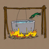 Frog Jumping Out of Campfire Pot. Scared frog jumping out of boiling water in bonfire Stock Photography