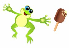 Frog jumping. Vector illustration of frog jumping for ice creem (or your product vector illustration