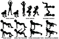 Frog jumps. Duck walks. Reverse crunch. Crab walks. Crab toe touches. Plank shoulder taps. Mountain climbers. Sport exersice. Silhouettes of woman doing stock illustration