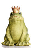 Frog King. Green frog wearing a golden crown isolated over white Royalty Free Stock Images