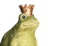 Frog King. Green frog wearing a golden crown isolated over white Royalty Free Stock Photo