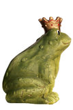 Frog King. Green frog wearing a golden crown isolated over white Stock Photos