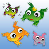 Frog King Family. Family of colourful cartoon frogs, the main one with a crowm Royalty Free Stock Photos