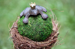 Frog king statuette as garden decoration Royalty Free Stock Images