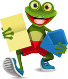 Frog with a letter. Illustration of a green frog with a letter stock illustration