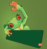 Frog lifting the cardboard. Illustration of frog lifting the cardboard with his tongue Stock Images