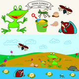 Frog. Little frog at the beach and fish in the lake Vector background Royalty Free Stock Image