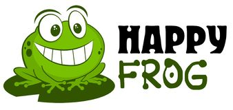 Frog logo mascot vector illustration. Cute funny cartoon hand drawn toad smiling isolated on white background and sitting on leaf. For children goods store royalty free illustration
