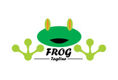 Frog logo. A simplistic frog logo that can be used for anything targeted to children. It carries a feeling of warmth, generosity and playfulness Stock Photos