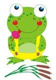 Frog with lollipop. Smiling cartoon  frog licking lollipop Stock Image