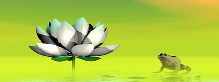 Frog and lotus flower - 3D render Royalty Free Stock Photography