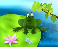 Frog on the lotus leaf, cdr vector Royalty Free Stock Photos