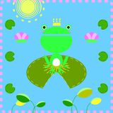The frog with lotus leaf stock illustration